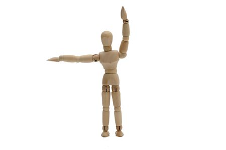 hand signal: Traffic Policeman Stop Hand Signal Front and back Wooden figure B
