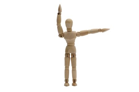 wooden figure: Traffic Policeman Stop Hand Signal Front and back Wooden figure A Stock Photo