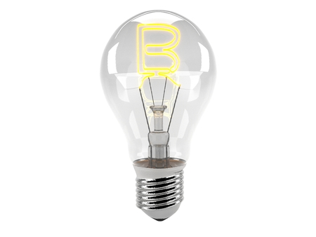 3D rendering of the alphabet in the bulb (B - Alphabet)  and turn on the light