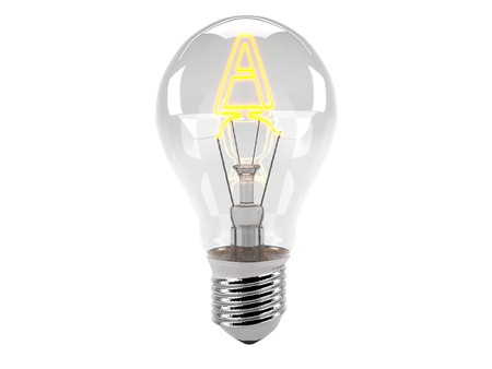 3D rendering of the alphabet in the bulb (A - Alphabet)  and turn on the light Stock Photo