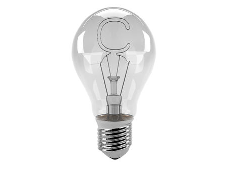 3D rendering of the alphabet in the bulb (C - Alphabet)  and turn off the light