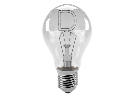3D rendering of the alphabet in the bulb (D - Alphabet)  and turn off the light