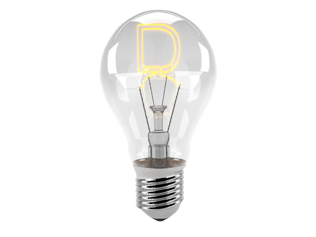3D rendering of the alphabet in the bulb (D - Alphabet)  and turn on the light