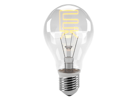 3D rendering of the alphabet in the bulb (E - Alphabet)  and turn on the light Stock Photo