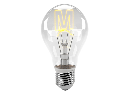 3D rendering of the alphabet in the bulb (M - Alphabet)  and turn on the light Stock Photo