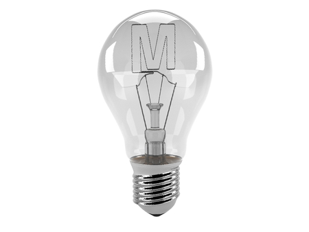 3D rendering of the alphabet in the bulb (M - Alphabet)  and turn off the light