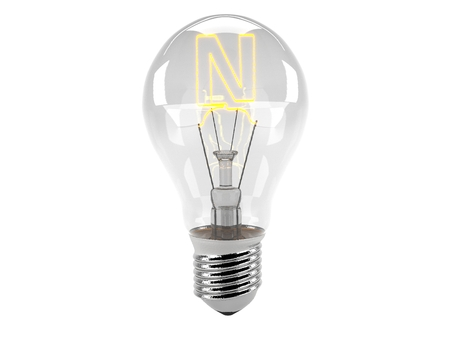 3D rendering of the alphabet in the bulb (N - Alphabet)  and turn on the light