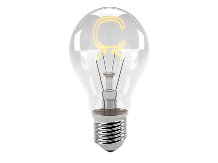 3D rendering of the alphabet in the bulb (C - Alphabet)  and turn on the light Stock Photo