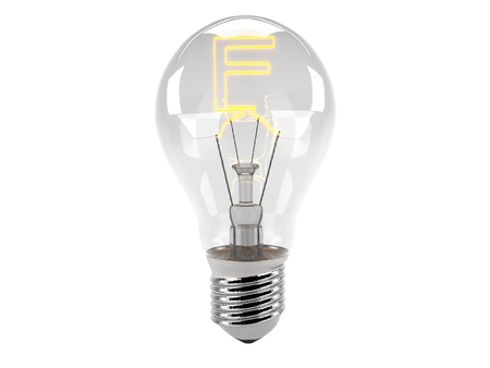 3D rendering of the alphabet in the bulb (F - Alphabet)  and turn on the light