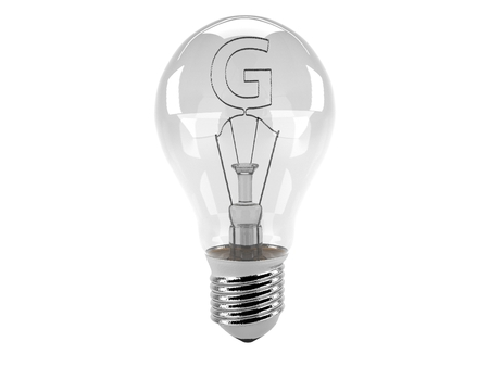 3D rendering of the alphabet in the bulb (G - Alphabet)  and turn off the light