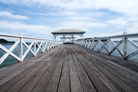 Wooden pier at si-chang island, thailand photo