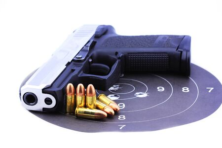 Bullets,Gun and target shooting white background  Stock Photo - 14606831