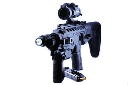 Closeup handgun 9mm upgrade  is rifle Stock Photo - 14640892