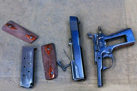 Parts of gun to clean  Stock Photo - 14732880