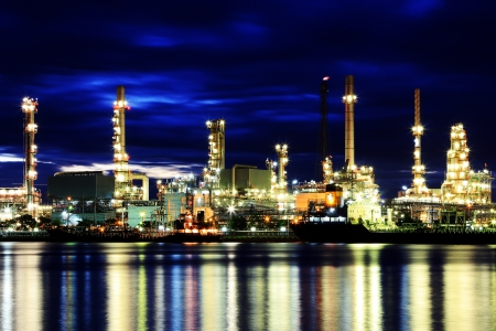 Oil refinery at twilight in Thailand