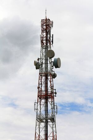 Mobile phone communication tower with devices  photo