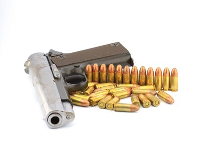 Handgun and bullets  on white background Stock Photo - 14732888