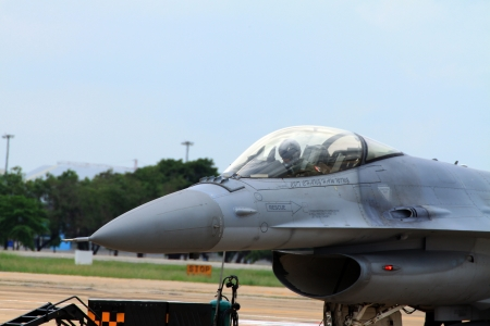 Close up f16 aircraft are parked