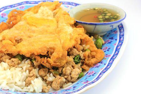 Thai food, kapao moo omelet  photo