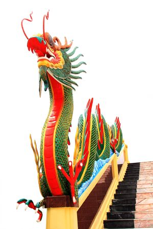 naga china: Statue chinese dragon green at WAt Muang in Thailand