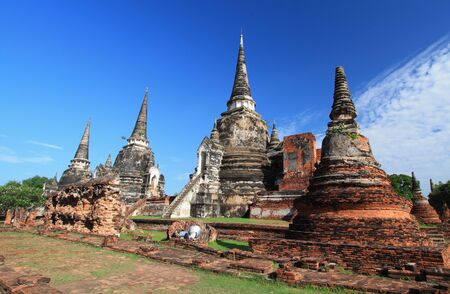 Temple ruins at Ayutthaya in Thailand Wat Phra si sanphet  Stock Photo