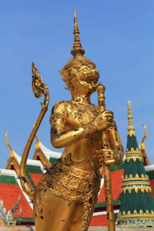 Gold monkey statue in Wat Pra Kaew,Bangkok,Thailand photo