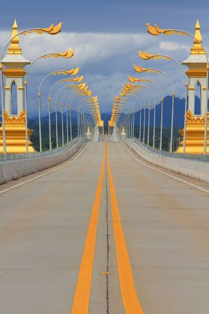 Thai-Lao friendship bridge with electricity post  beautiful Nakhon Phanom province