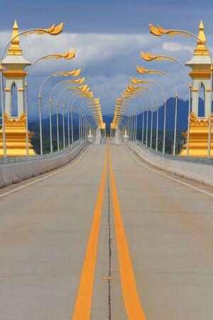 Thai-Lao friendship bridge with electricity post  beautiful Nakhon Phanom province Imagens - 15982328