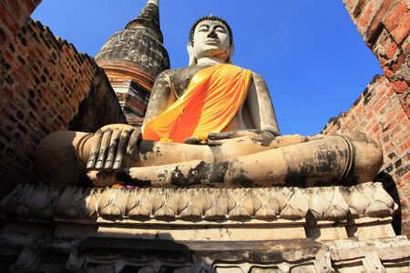 Buddha statue in Wat Yai Chai Mongkol at Ayuttaya of Thailand  Stock Photo - 15982412