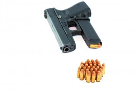 semi automatic: Semi automatic pistol with magazine and ammo  Stock Photo