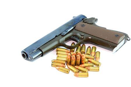 semi automatic: Semi automatic pistol and ammo with white background  Stock Photo