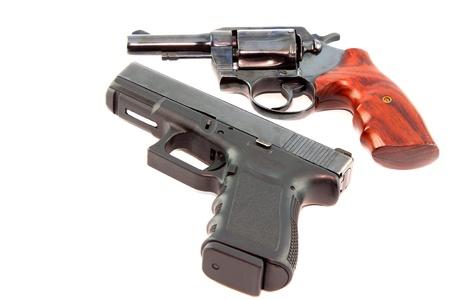 semi automatic: Semi automatic pistol and revolver gun on white background
