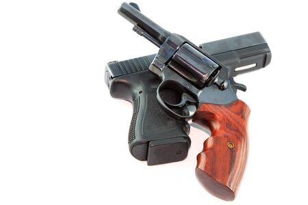 Semi automatic pistol and revolver gun on white background  photo