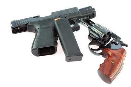 Semi automatic pistol and revolver gun on white background