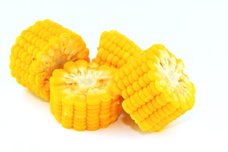 cooked meat: Corn cut cooked meat on white background Stock Photo