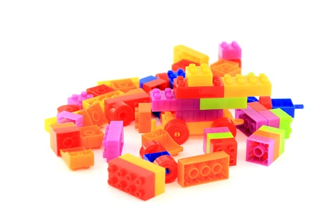 Lego plastic toy cubes on white background