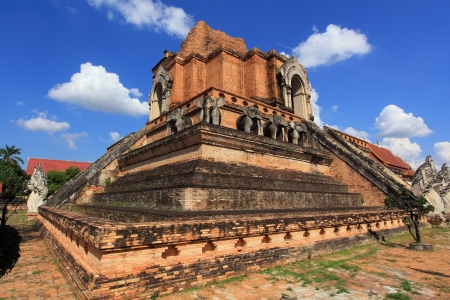 Ancient Pagoda at Wat Chedi Luang in Chiang Mai Thailand Stock Photo