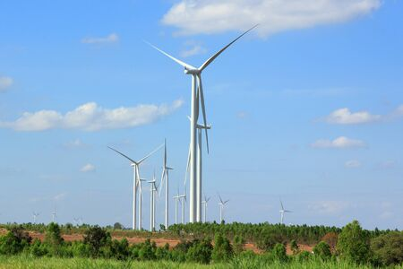 Wind Turbines with blue sky in Thailand  photo