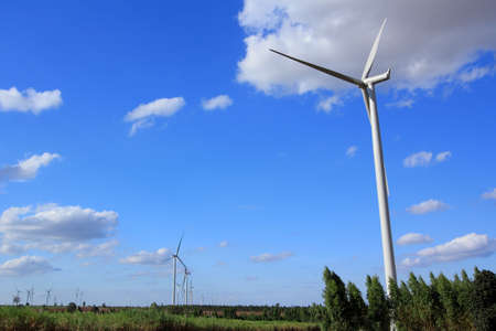 Wind Turbines with blue sky in Thailand Stock Photo - 17211680