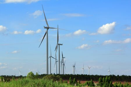 Wind Turbines with blue sky in Thailand  Stock Photo - 17211721