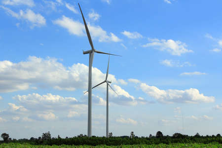Wind Turbines with blue sky in Thailand Stock Photo - 17211651