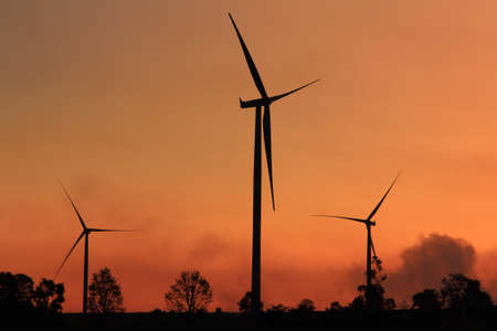 Wind turbines at sunset in Thailand  photo
