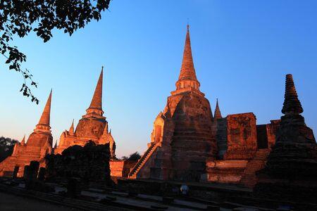 stu: Temple ruins in twilight at Ayutthaya,Thailand[ Wat Phra si sanphet]