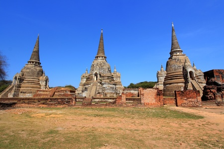actuary: Temple ruins at Ayutthaya in Thailand[Wat Phra si sanphet] Stock Photo