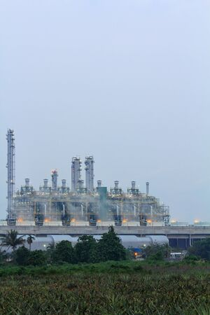 Petrochemical plant at intervals after sunset in Thailand