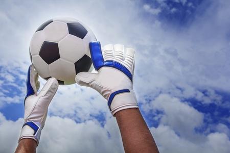 oal: Soccer ball in goal no through the hand goalmam