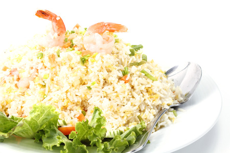 Fried rice with shrimp in bowl photo