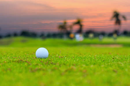 Close-up golf ball on grass in sunset photo