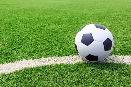 Soccer football on field grass line ball  Imagens