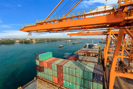 Industrial Container Cargo freight ship with working at port